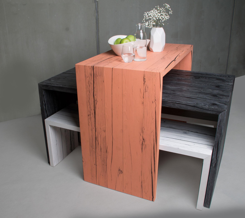 farbige holzm bel altholztische. Black Bedroom Furniture Sets. Home Design Ideas